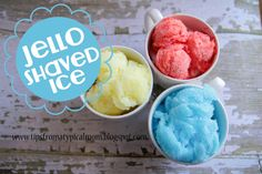 {Jello} Homemade Shaved Ice - i'll use sugar free :))  | 1c boiling water | 2c sprite or similar | Jello (4serving size) | *In sq glass cake pan, whisk Jello in boiling water til dissolved.  *Stir in soda.  *Freeze at least 4hrs.  *Use cookie or ice cream scoop to shave the ice.