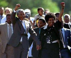 Mandela served 27 years in prison. Its was split between Robben lsiand, Poltmoor prison, and Victor Verster prison.w De Klerk released in prison in Today In History, Black History Month, Nelson Mandela Pictures, Winnie Mandela, First Black President, Apartheid, World Leaders, Fauna, Change The World
