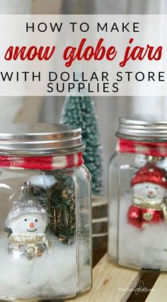 Use dollar store supplies to make a snowy winter scene in these DIY mason jar snow globes. Follow this simple tutorial and learn how to make a dollar store snow globe jar. Perfect winter craft - Christmas decor project. #christmasdiy #snowglobe #diysnowglobe #christmasdecor #christmasdecorations #christmascrafts #diychristmasdecor