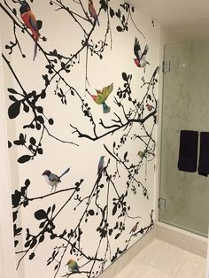 Wallpaper in the bathroom - spring wall decor all year long. Watercolor Wallpaper, Bird Wallpaper, Bathroom Wallpaper, Bathroom Mural, Wallpaper Furniture, Removable Wall Murals, Bird Wall Art, Wall Treatments, Wall Decals