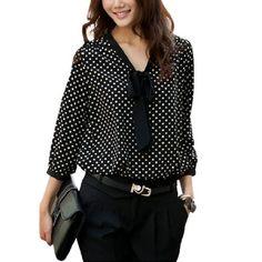 Allegra K Women Black White Dots Semi Sheer 3/4 Sleeve Chiffon Tie-bow Neck Blouse S Allegra K,http://www.amazon.com/dp/B00AIIQJP4/ref=cm_sw_r_pi_dp_4AwDrbD420D24EA5