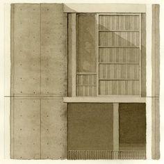 SS15 Aquarell Eckert Theresa nach: Louis Kahn, Salk Institute, LaJolla