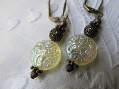 Mary- Ivory Crystal Lace Coin Beaded Antiqued Brass Filigree Victorian earrings