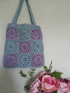 Lavender and Wild Rose: Vintage flower bag