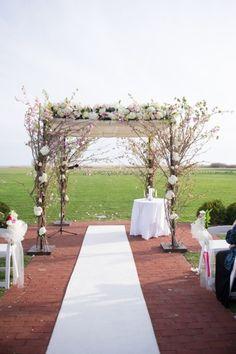 We love this flower covered Chuppah: http://www.stylemepretty.com/new-york-weddings/oakdale/2015/01/21/elegant-winter-wedding-at-the-bourne-mansion/ | Photography: Robert & Kathleen - http://www.robertandkathleen.com/