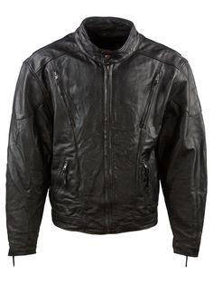 Vintage First Leather Cruiser Biker Jacket - XXL, Regular Fit, size Size XXL . Colour Black and made from 100% Cowhide Leather with with Black Quilted Lining and and YKK Front Zip Fastening fastening.