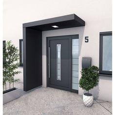 Auvent porte d entr e paroi alu gris ant l 200 x H 14 5 x P 90 cm pr -mont GUTTA Modern Entrance Door, House Entrance, Entrance Doors, Modern Front Door, Front Door Awning, Front Door Canopy, Front Porch, Paint Your House, Front Door Design