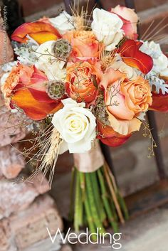 Autumn Wedding Bouquet: White Roses, Peach-Orange Roses, Flame Orange Calla Lilies, Golden Wheat, Scabiosa Pods, Lace Leaf Dusty Miller