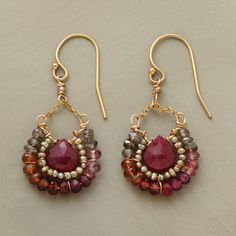 """PANOPLY EARRINGS--A panoply of gemstones of pink quartz, garnet, mystic quartz and cultured freshwater pearls envelops each corundum teardrop. 14kt goldfill. Handcrafted in USA. 1-3/8""""L."""