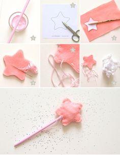 Fairy wand DIY from MonkeyChoo! Felt Diy, Felt Crafts, Diy And Crafts, Arts And Crafts, Sewing For Kids, Diy For Kids, Crafts For Kids, Princess Wands, Princess Party