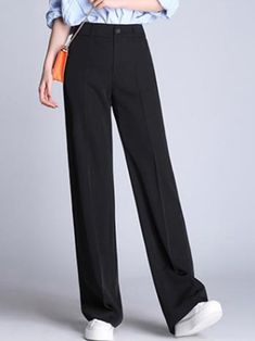 Casual Black Pocket Wide-Leg Pants - Outfit of the day Straight Leg Pants, Wide Leg Pants, Long Pants, Mode Outfits, Casual Outfits, Black Trousers Outfit Casual, Black Outfits, Black Dress Pants, Fashion Clothes