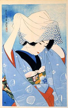 """Ito Shinsui, The First Series of Modern Beauties: Hand Mirror (Gendai bijinshu dai-isshu: Tekagami), Showa Period, 1931. Color woodblock print, 17 x 11"""" (43.5 x 28 cm). Scholten Japanese Art Collection, New York, NY."""