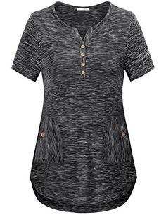 Messic Women's Basic Long/Short Sleeve Notch V Neck Casual Knit Tee Shirt Tops Women's Henley, Casual Tops For Women, Long Shorts, Latest Fashion For Women, V Neck Tops, Tee Shirt, Sweatshirts, Henleys, Halle