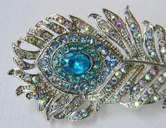 Rhinestone Peacock Feather Hair Clip - Aqua and Turquoise - Bridal Hair Clip - Bridesmaid Hair Clip - Wedding. $34.50, via Etsy.