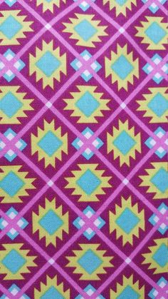 Aztec Mini Geometric Fabric, Citron Turquoise, Magenta Brother Sister Design Studio, Fabric by the Yard by LaCreekBlue on Etsy