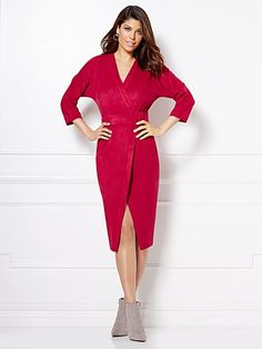 Shop Eva Mendes Collection - Martina Ultra-Suede Wrap Dress . Find your perfect size online at the best price at New York