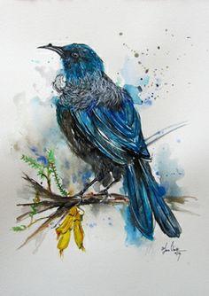Tui Bird 2 by Fiona Clarke Watercolor Bird, Watercolor Paintings, Tui Bird, Doodle Images, Maori Designs, New Zealand Art, Nz Art, Maori Art, Kiwiana