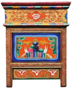 Hand Painted Antique Tibetan Furniture With Gold Trim