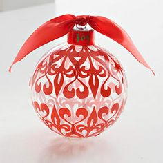 Rub-On Ornament made with a clear ball ornament.
