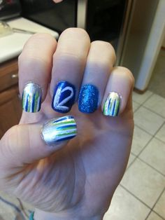 My nails for the 1-19-14 Seahawk game!!!! GO HAWKS!!! Win