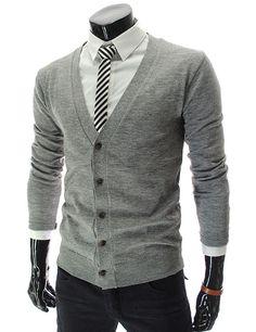 Slim Fit Wool Knit Basic Cardigan