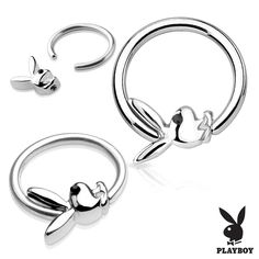 Or Licensed Playboy Bunny Captive Bead Ring Black Cz Gem Eye Tragus, Bijoux Piercing Septum, Smiley Piercing, Septum Jewelry, Black Gems, Black Rings, Faux Piercing Oreille, Wholesale Body Jewelry, Silver Nose Ring
