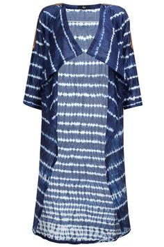 Ink blue shibori long cape available only at Pernia's Pop-Up Shop.