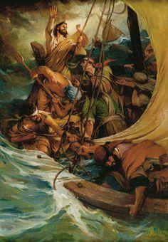 Master the Tempest is Raging - Walter Rane Mark 4:35-41 Luke 8:22-25