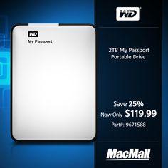 Save 25% on a 2TB #WesternDigital My Passport portable drive at MacMall.