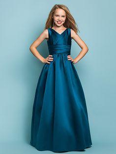 Floor-length Satin Junior Bridesmaid Dress - A-line/Princess V-neck - USD $59.99