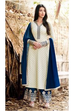 Festival Wear Off White Georgette Palazzo Suit - 1022 A