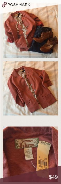 Iconic. 100% silk Tommy Bahama blazer What an amazing staple for your closet. This button silk blazer is perfect. New with tags. It's reasonable prices just for your Tommy Bahama Jackets & Coats Blazers