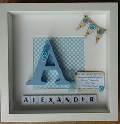 Personalised Scrabble Art Picture frame Baby boy/girl Baby