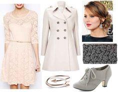 Blush lace dress, gray shoes, white coat, silver ring