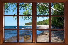 Wall decal Michigan Mackinac Island beach window by CatsMeowArt, $25.00