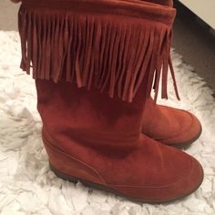 Fringe Top Boots Like New, Worn Once! Skechers Shoes