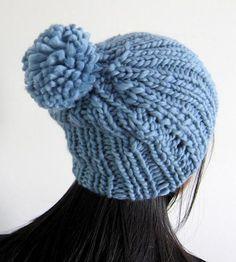 387e371ef31 Sky Blue Beanie Pom Pom Hat