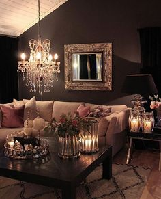 Family Room - I like the dark walls with the bright furniture and natural . - Family Room – I like the dark walls with the bright furniture and of course … - Cozy Living Rooms, Home And Living, Living Room Decor, Romantic Living Room, Dining Room, Dark Walls, Light Walls, Family Room Design, Family Rooms