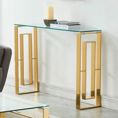 House of Hampton Menzel Stainless Steel Console Table Color: Gold Marble Console Table, Narrow Console Table, Table Desk, Metal Furniture, Glass Table, Decoration, Stainless Steel, Home Decor, Walking