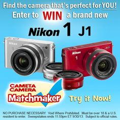 Have you tried our Matchmaker yet? See which #Camera is best for YOU, and your #photography! Enter to Win a Nikon J1!