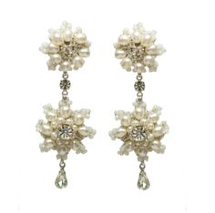Artemisia Earrings by Edera Jewelry | Handmade silver lace bridal chandeliers with freshwater pearls and vintage crystals #lace #wedding #bride #bridal #jewelry #fashion #daisies #pearls