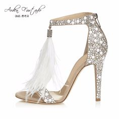 4f31f7512855 2017 summer shoes for women fringed tassels cover heel back zipper open toe  plus size sandals feather wedding shoes high heels-in Women s Sandals from  Shoes ...