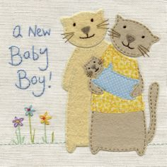A stunning new baby boy card with a beautiful cats and kitten design, from an original embroidery by Jo Corner.The caption reads: a new baby boy!The card is embossed and hand finished with white flower shaped jewels.The card is blank inside and c. Baby Christening Gifts, Stationery Items, New Baby Cards, New Baby Boys, Flower Shape, Beautiful Cats, Birthday Wishes, Pet Birds, Cats And Kittens