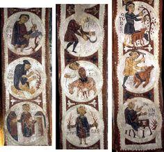 "Arte románico. Pintura al fresco de la Basílica de San Isidoro de León: ""Calendario agrícola"". Siglo XI. Medieval Art, Romanesque, Vintage World Maps, Spanish, Sculpture, Frame, Painting, Design, Madrid"