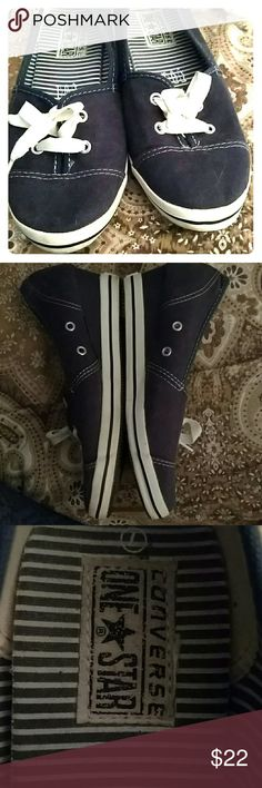 CONVERSE SLIP ON SHOES Navy & White Excellent Condition  Design as Shown Converse Shoes Sneakers