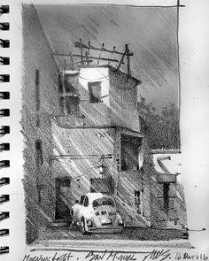 Morning - San Miguel - Pencil Sketch - 16 March 2016 Thomas W Schaller