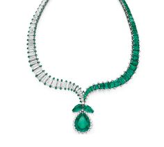 AN EMERALD AND DIAMOND NECKLACE, BY HARRY WINSTON Composed of two opposing undulating lines of graduated rectangular-cut emeralds and diamonds, enhanced by circular-cut diamond or emerald trim, tapering to a point, set with a detachable pendant comprising two modified pear-shaped emeralds, suspending a pear-shaped emerald, weighing approximately 18.95 carats, within a graduated circular-cut diamond surround, mounted in platinum, 1956. Signed Winston for Harry Winston
