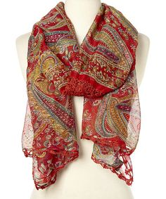Red Embroidered Paisley Silk Scarf