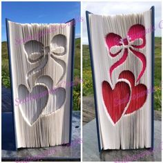 Hearts an Bow Book Folding Pattern Measure Mark Cut and Fold EASIER LAYOUT 548… Folded Book Art, Paper Book, Paper Art, Holiday Crochet Patterns, Anniversary Crafts, Book Page Crafts, Recycled Books, Book Folding Patterns, Newspaper Crafts