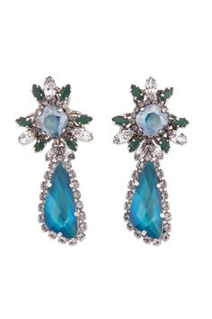 Erickson Beamon Bosa Nova Earrings (navy/hunter green/silver wedding)